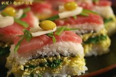 Oshi sushi (layered pressed sushi) Japanese food OMGOSH Oshi is right!!!!!
