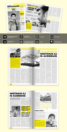 Modern yellow newspaper is an Adobe InDesign newspaper layout ready for their customization. FEATURES · Adobe InDesign and higher (idml, indd and indt Free Banner Templates, Layout Template, Page Design, Layout Design, News Design, Newspaper Design Layout, Newsletter Layout, Best Banner, Banner Printing
