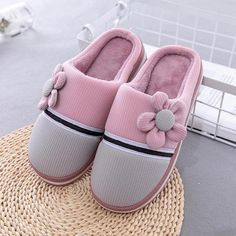 Striped Flower Winter Warm Cotton Plush Slippers Men Flat Home Slippers Indoor Women Slipper Shoes dark pink 11 Cute Slippers, Summer Slippers, Cute Flats, Cute Sandals, Expensive Shoes, Fresh Shoes, Winter Shoes, Types Of Shoes, Womens Slippers