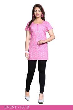 Pink American Crepe Printed Short Kurti - Crepe Kurtis / Tunics Manufacturer & Exporter | Kurtisindia