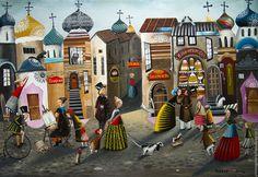 Купить Пленэр. - комбинированный, русский стиль, русский сувенир, лубок, город, картина, счастье, Праздник