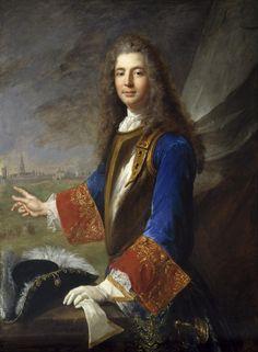 """Charles Francois Marie de Custine, Chevalier de Wiltz (d.1738) Grand Ecuyer de Lorraine and Mestre-de-Camp (colonel) of the French regiment, """"Stanislas-Roi,"""" later known as the Royal-Pologne Regiment. By Alexis Simon Belle. 1714."""