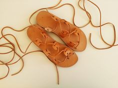 Women Sandals-Lace Up Brown Leather Sandals Flat With Brown Leather Lace