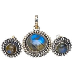 """Natural Labradorite Handmade Unique 925 Sterling Silver Jewelry Set Pendant 1.25"""" Studs 0.5"""" A3763 *** You can find out more details at the link of the image. (As an Amazon Associate I earn from qualifying purchases)"""