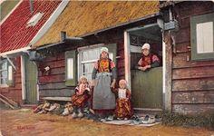 Marken jongens en moeder in klederdracht #NoordHolland #Marken