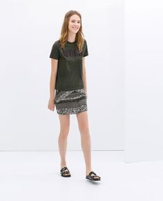 Image 1 of EMBROIDERED SKIRT WITH SEQUINS from Zara