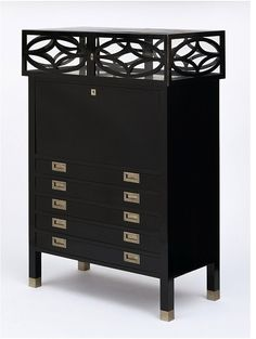 Koloman Moser, Desk and showcase, 1904, Weiner Werkstätte (maker). Maple, mainly ebonised, with nickel-plated brass handles and locks.