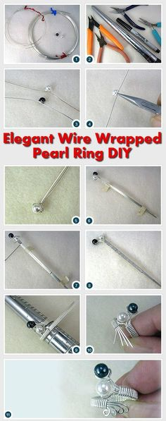 Elegant Silver Wire Wrapped Pearl Ring DIY #DIY http://www.diyhomestips.com/109/crafts/elegant-silver-wire-wrapped-pearl-ring-diy: