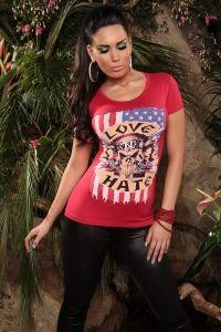 czerwony T-Shirt Love/Hate Hate, Tank Tops, Heels, T Shirt, Women, Fashion, Moda, Halter Tops, Tee