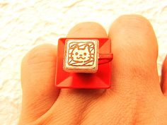 Coffee Ring Miniature Food Jewelry Cute Cat by SouZouCreations, $10.00