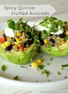This has to be good! Quinoa stuffed avocado.