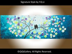 """Romantic Painting Abstract Painting Landscape Painting Original Impasto Painting Love Birds Painting Tree Painting Canvas """"Moon Dancing"""""""