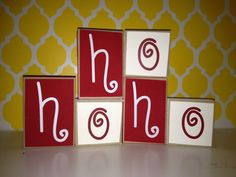 HoHoHo Mini Blocks stackable wood blocks by CraftswithasideofYou, $6.00