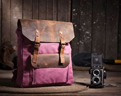Handmade Leather Canvas Backpack Canvas Backpacks Student Canvas Backpack-computer-Leather Satchel/schoolbags/Travel bag/Leather bags on Etsy, $59.99
