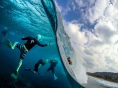 Photo of the Day! Surf photographers at work on the North Shore of Oahu. Surfer: Photo by Kitesurfing, Wind Surf, Surf Wave, Foto Sport, Big Waves, Ocean Waves, North Shore, Photos Of The Week, Underwater Photography
