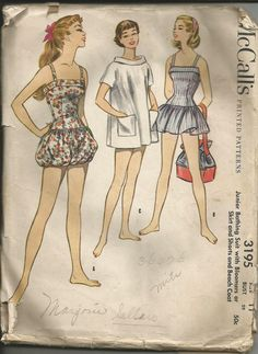 1955 McCalls Swimsuit Pattern Junior Bathing by TheIDconnection, $55.00