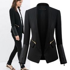 Fashion Long Sleeves PU Patchwork Zippers Designed Black Cotton Blend Blazer on Luulla
