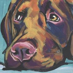 chocolate lab Labrador Retriever Dog art print by BentNotBroken