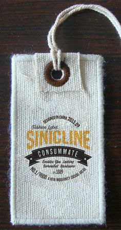 Vintage fabric hang tag with custom printed logo.   #hangtag #sinicline.