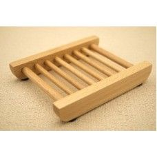 Natural Wood Slotted Soap Dish (12 ct Case)