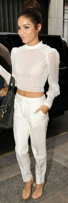 All white crop and trousers.