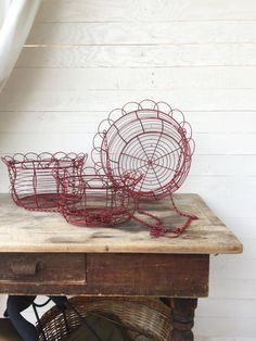 Metal Hanging Basket Rustic Creamy White by CamillaCotton on Etsy