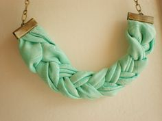 Use parts of old scarves and chain to make this... Fabric necklace Braided necklace