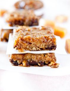 Caramel and Chocolate Gooey Bars - Loaded with buttery caramel and rich chocolate, these bars live up to their gooey name! So sticky and so worth it!