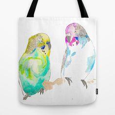 Budgies Tote Bag by EllieKnight - $22.00