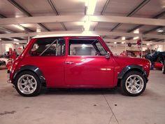 Caged and readied Red Mini Cooper, Mini Cooper Classic, Classic Mini, Classic Cars, Lamborghini, Ferrari, Mini Clubman, Mini Countryman, Peugeot