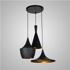 (In Stock) Pendant 3 Light American Style Black Chandelier Iron Aluminum Spinning