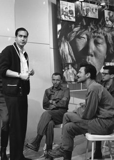 John Frankenheimer with Frank Sinatra and Laurence Harvey on the set of The Manchurian Candidate.