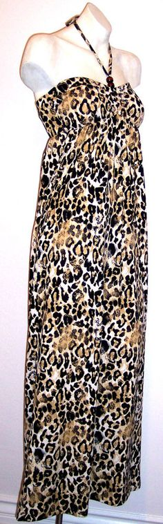 Made For Me 2 Dress M Leopard Animal Print Stretch Knit Maxi Halter Sundress NWT #Madeforme2 #Maxi #SummerBeach