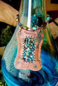 COPPER WEAVE Crochet Necklace 28 Handmade by BraceletsofBlueRidge