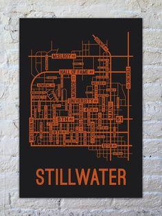 Stillwater, Oklahoma Street Map Screen Print