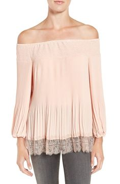 Free shipping and returns on Chelsea28 Pleated Off the Shoulder Top at Nordstrom.com. Amp the romance of date night in a flowy, shoulder-baring top textured with precise pleating and a gorgeous hem of sheer eyelash lace.