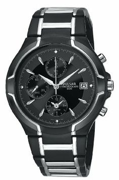 Pulsar Men's PF3547 Alarm Chronograph Black Ion Plated Stainless Steel Watch Pulsar. $95.03. Alarm chronograph, 1/5 second stop watch, records elapsed time up to 60 min., split time measurement. Quality Japanese-quartz movement. Stainless steel case; black dial; date function; chronograph functions. Strong Hardlex crystal protects watch from excessive wear on dial. Water-resistant to 165 feet (50 M)