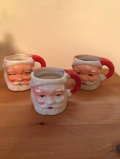 Hey, I found this really awesome Etsy listing at https://www.etsy.com/listing/528304136/vintage-santa-mugs-set-of-3-miniature