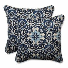 Pillow Perfect Woodblock Prism Outdoor/Indoor Throw Pillows set of 2 Blue for sale online Buy Pillows, Floor Pillows, Accent Pillows, Sofa Pillows, Outdoor Throw Pillows, Decorative Throw Pillows, Poolside Furniture, Asian Furniture, Deck Furniture