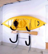 Kayak Garage Wall Storage. Kayak on bottom raft on top.
