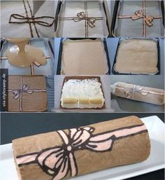 How to make this nice swiss roll type dessert! Cake Roll Recipes, Dessert Recipes, Food Cakes, Cupcake Cakes, Swiss Roll Cakes, Decoration Patisserie, Cake Decorating Tutorials, Cake Tutorial, Pretty Cakes