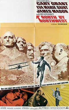 North by Northwest (1959) is a suspenseful, classic Alfred Hitchcock caper thriller. The box-office hit film is one of the most entertaining movies ever made and one of Hitchcock's most famous suspense/mystery stories in his entire career.  The film paired debonair Cary Grant with director Hitchcock for the fourth and last time: their earlier collaborations were in Su
