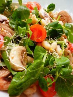 Recetas de Cocina faciles.: Ensalada de berros, alfalfa, tomates y champiñones...