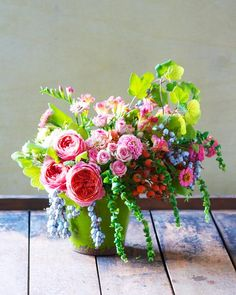 colorful centerpiece by Kiana Underwood of Tulipina Floral Design
