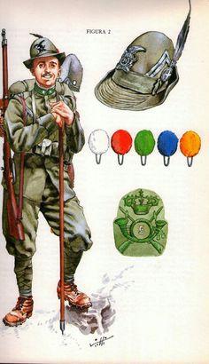 Italian Army - First Alpini Rgt. Italian Empire, Italian Army, Military Art, Military History, Military Uniforms, World War One, First World, Ww1 Art, Italian Posters