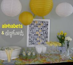 Cute grey and yellow alphabet theme