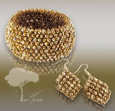 Golden CAPRICE bracelet and earrings welcomes you Jewelry Collection, Crochet Earrings, Art Pieces, Unique, Bracelets, Design, Artworks, Art Work
