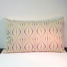 "Hourglass pillow 12"" x 21"" purple, green, gold"