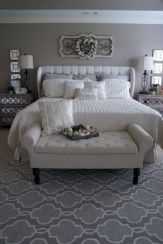 Come inside my home and get some inspiration for your Fall Décor this year! I loved playing with neutrals this Fall with some surprise pops of color too! Grey Bedroom Decor, Warm Bedroom, Bedroom Themes, Bedroom Styles, Home Bedroom, Master Bedroom, Bedroom Ideas, Bedrooms, Farmhouse Style Decorating