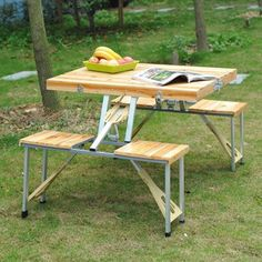 The Portable Picnic table quickly transforms from a wooden carrying case into an outdoor table. It is made of high impact wood and aluminum, but weighs only 15 pounds. It can seat four people, then compactly folds for easy storage and transport. Ideal for anyone who loves the outdoors.